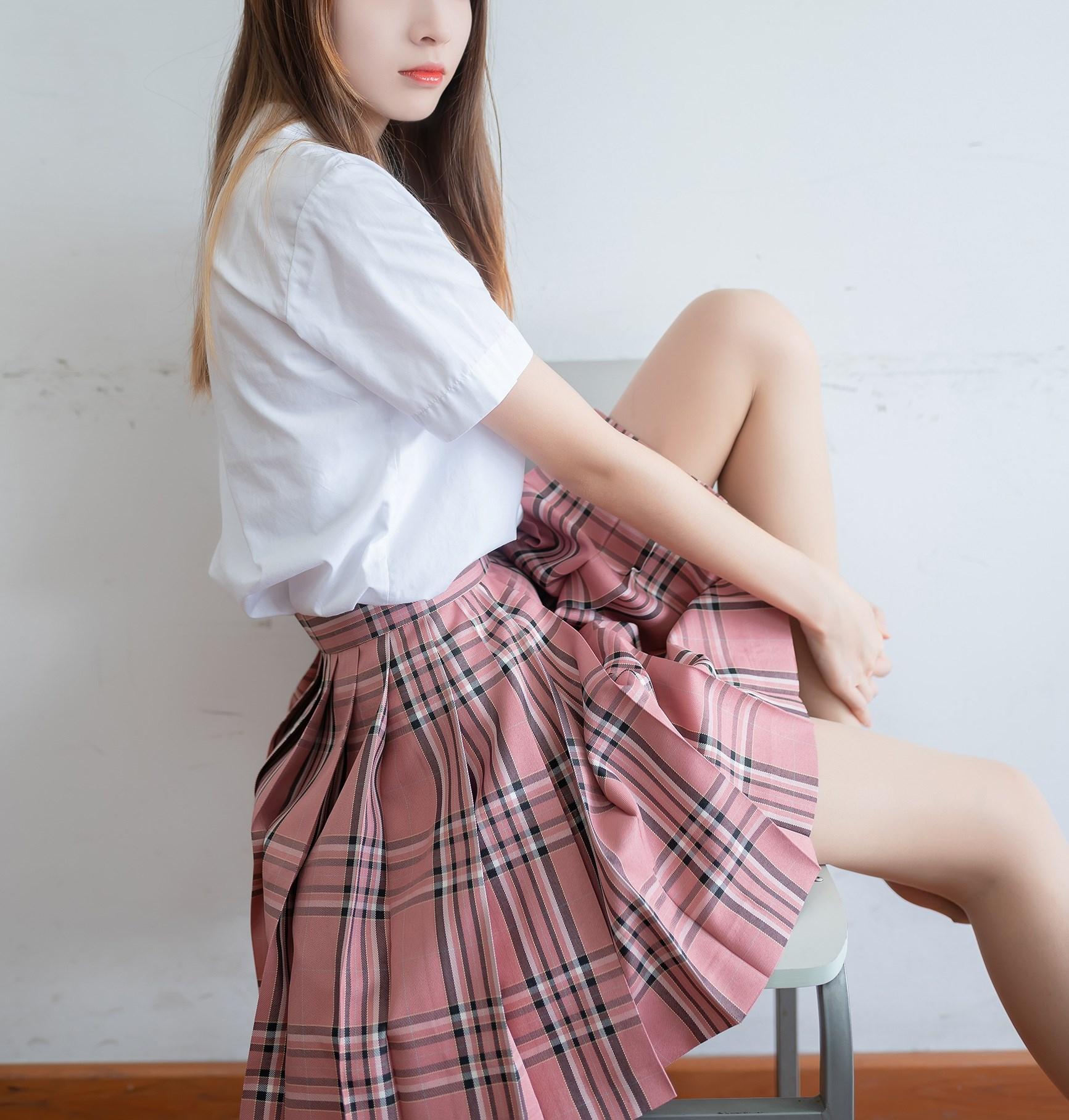 【兔玩映画】粉色格裙少女 兔玩映画 第40张