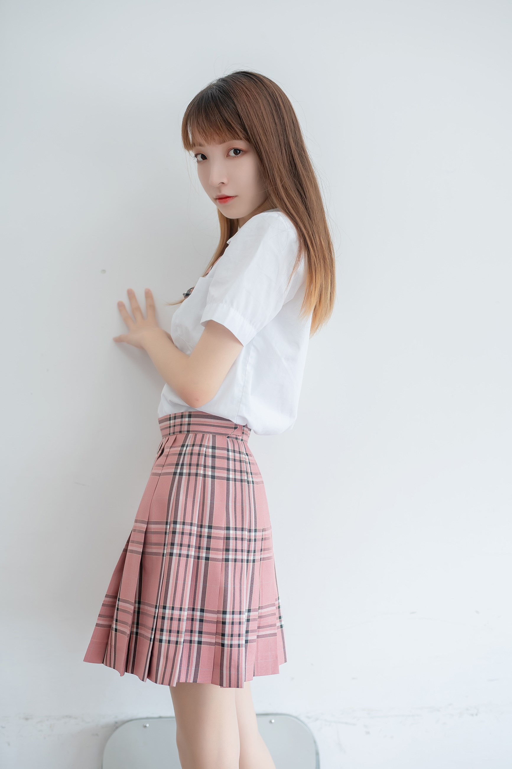 【兔玩映画】粉色格裙少女 兔玩映画 第39张