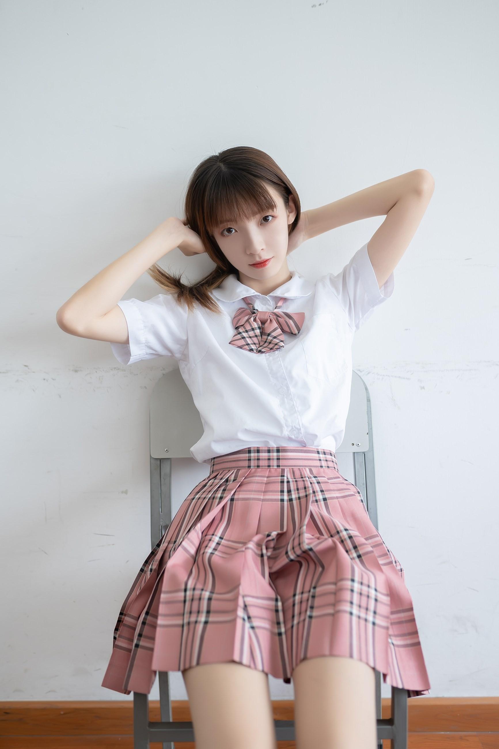 【兔玩映画】粉色格裙少女 兔玩映画 第35张