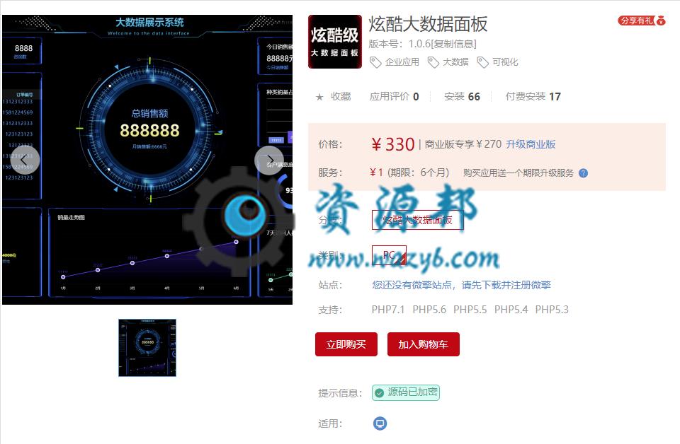 【公众号应用】炫酷大数据面板V1.0.4,微微调整了下 公众号应用 第1张