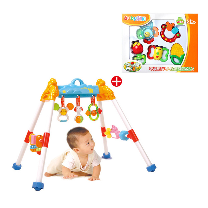 【澳贝AUBY 玩具婴幼儿系列】新生礼包0-18个月宝宝 放心煮摇铃+活动健身架463301DS套餐