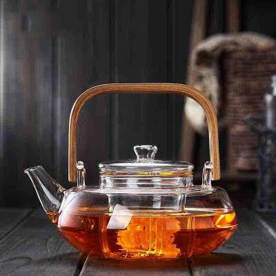 纳丽雅 玻璃茶壶水壶提梁壶竹把耐高温加厚泡茶壶普洱黑茶煮茶壶 1壶+4杯+茶盘