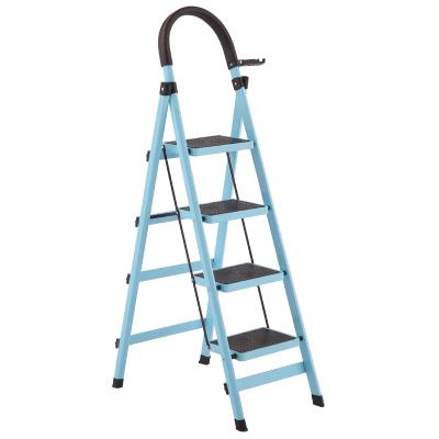 梯子家用折叠梯加厚室内人字梯移动楼梯伸缩梯步梯家用梯子法耐多功能扶梯FANAI 加厚蓝色四步梯