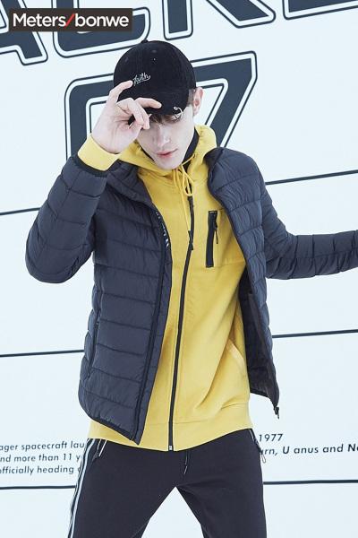 美特斯邦威男士羽绒服2018冬季新款轻薄款舒适时尚青少年立领外套