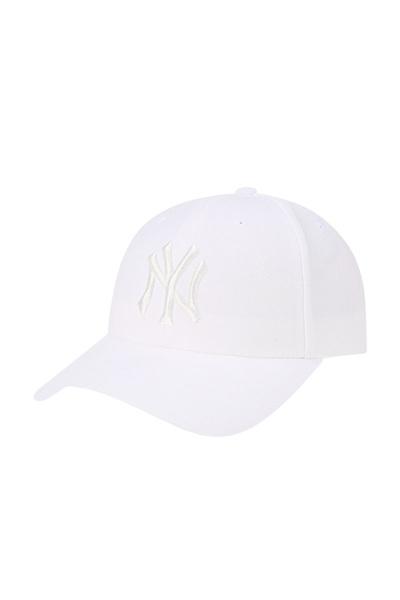 韩国MLB纯色棒球帽春夏调节款NY鸭舌帽男女黑色白色弯檐帽子
