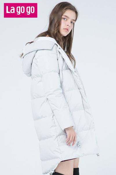 Lagogo2017秋冬季新款灰白色气质显瘦连帽羽绒服女中长款加厚外套
