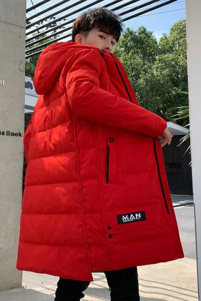 丹杰仕(DANJIESHI)冬季新款羽绒服男中长款白鸭绒加厚宽松青年韩版潮流帅气大衣连帽