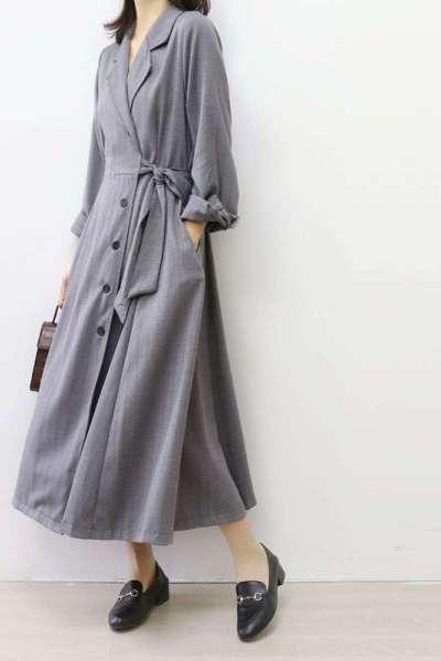 潮流女装法式V领连衣裙系带收腰西装领A字长裙大摆裙单排扣开衫外套长风衣闪潮