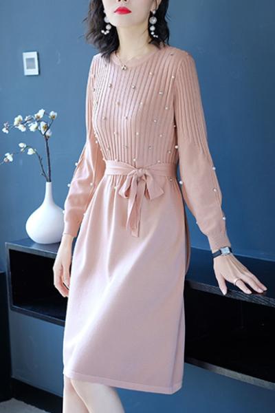千仙仙2018秋装新款长袖小香风中长款蝴蝶结系带重工钉珠毛衣针织连衣裙