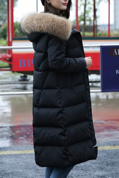 佐露絲RALOS 2018冬季加厚羽绒服女中长款过膝加长修身韩国版连帽大码毛领女装