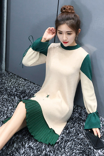 佐露丝 RALOS2018新款女装中长款撞色毛衣裙子小香风显瘦针织连衣裙秋冬打底衫