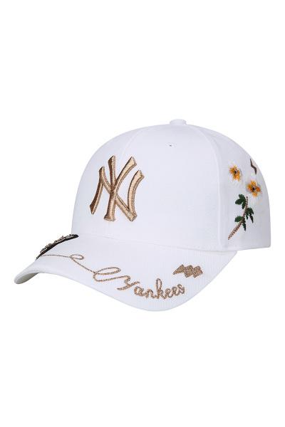 韩国MLB棒球帽男女春夏新款烫钻小蜜蜂洋基NY弯檐鸭舌帽子粉色黑色白色