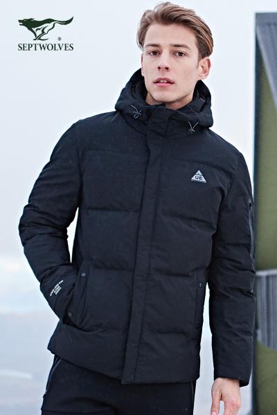 [优惠价389]七匹狼户外羽绒服冬短款男装防寒运动鸭绒保暖羽绒外套