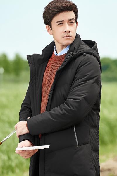 柒牌中长款羽绒服时尚连帽保暖御寒青年加厚修身外套冬季