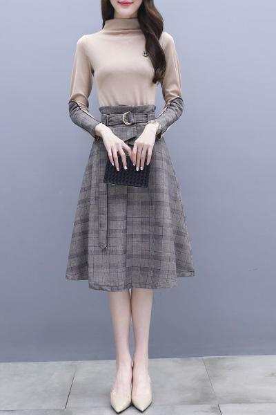 班俏BANQIAO连衣裙秋装女2018新款法式少女茶歇裙子秋季套装裙两件套气质时髦