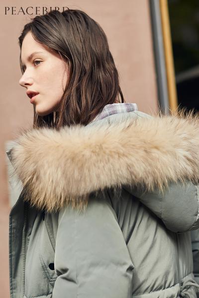 豆绿色中长款羽绒服女2018冬装新款韩版口袋大毛领羽绒外套太平鸟