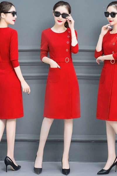 丸涵气质连衣裙女秋季2018新款修身时尚韩版秋装秋天长袖收腰中长裙子