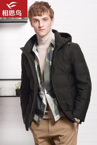 红豆旗下相思鸟(xiangsiniao)男士冬季修身中长款连帽羽绒服男TY227