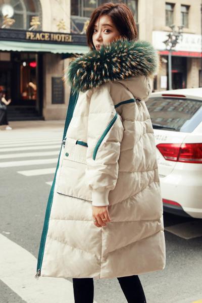 芷臻(zhizhen)羽绒服女中长款2019新款 韩版白鸭绒时尚大毛领过膝加厚冬潮