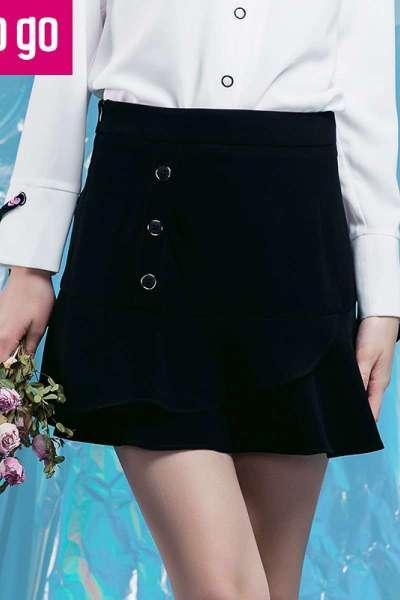 Lagogo2018春季新款黑色纽扣鱼尾高腰显瘦半身裙女短裙秋冬裙子