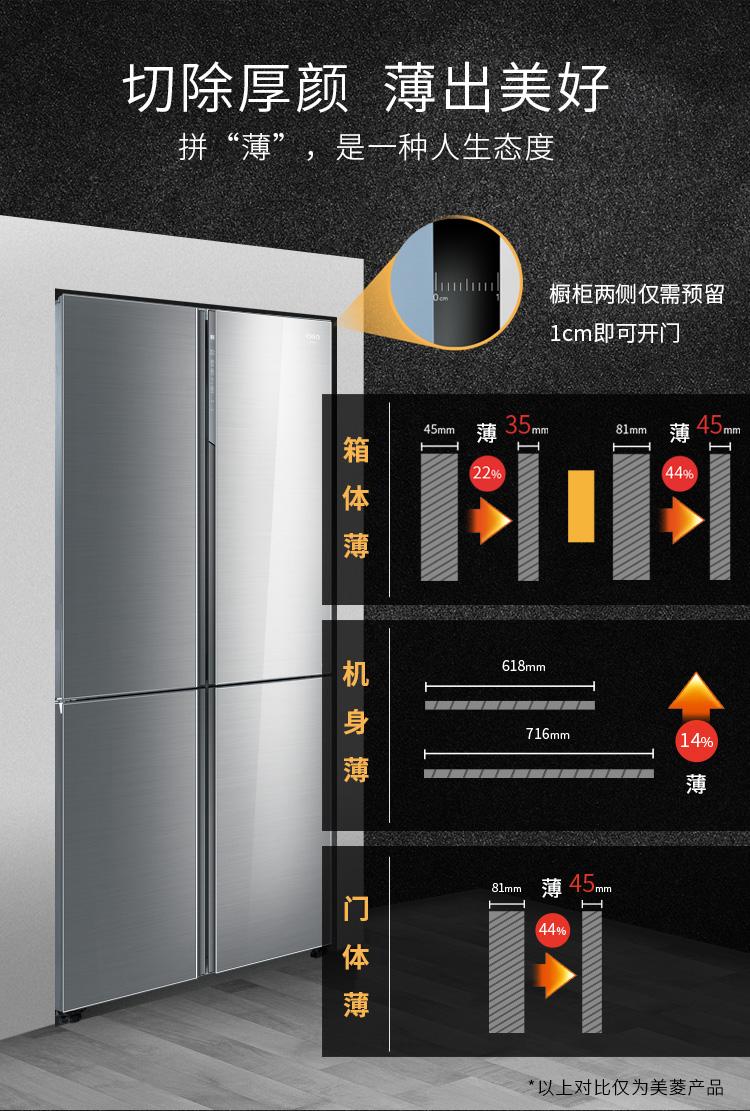 【苏宁专供】美菱冰箱BCD-501WQ3S 精确变频 风冷无霜 底部散热 超薄箱体(凯撒灰 )