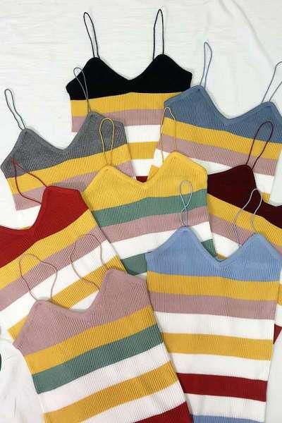 七斓秋冬女装新款韩版彩色条纹修身弹力针织吊带衫外穿内搭v领小背心