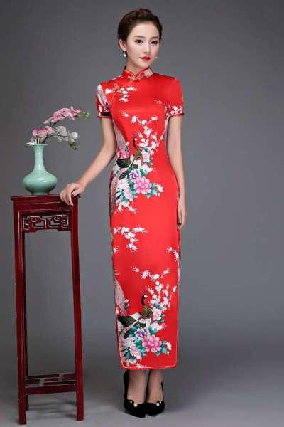 长款旗袍复古改良短袖修身显瘦走秀迎宾年会演出礼仪旗袍薄连衣裙