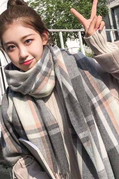 秋冬格子围巾女冬季韩版加厚学生软妹百搭披肩ins少女心针织围脖欧莱尚
