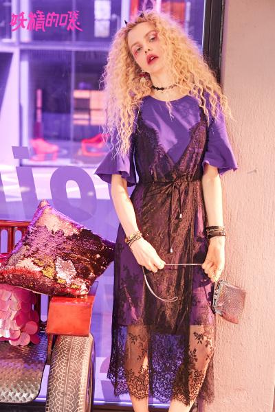 妖精的口袋Y温柔仙女裙夏装2018新款荷叶边chic蕾丝短袖连衣裙女J