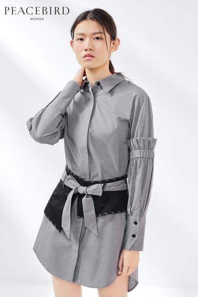 衬衫连衣裙女2019春季新款中长款长袖中腰连身裙复古风太平鸟女装
