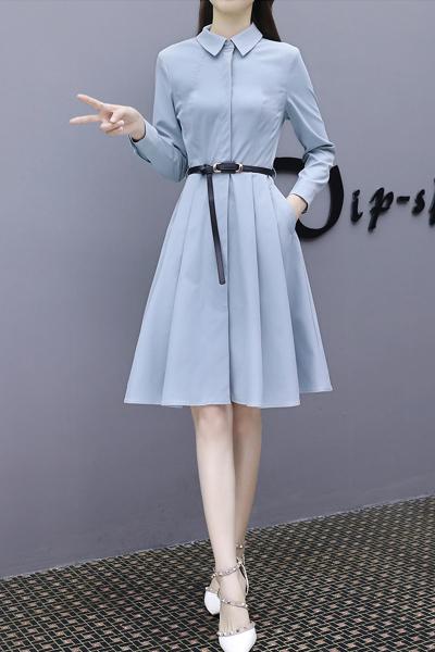 千仙仙长袖连衣裙女2018秋季新款韩版女装修身气质衬衫裙雾霾蓝a字裙子