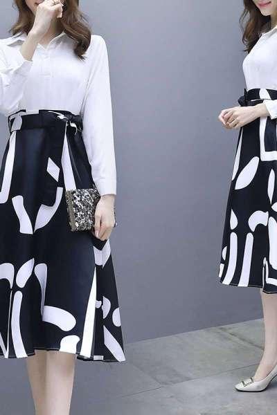 子沫雨JMOORY2019新款女装春装韩版流行裙子chic温柔仙女裙春季长袖连衣裙