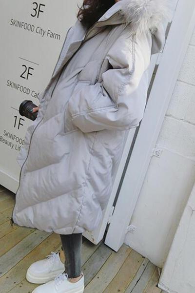 佐露絲RALOS2019新款羽绒服女中长款时尚大毛领宽松加厚冬季韩版斗篷型潮