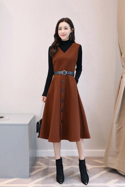 千仙仙2018秋冬季新款套装裙女韩版毛呢长袖加厚两件套A型打底连衣裙