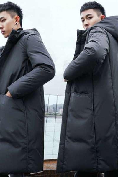 现代男孩 (XIANDAINANHAI)男士过膝加长羽绒服男中长款斗篷2019冬装韩版加厚大衣青年潮外套