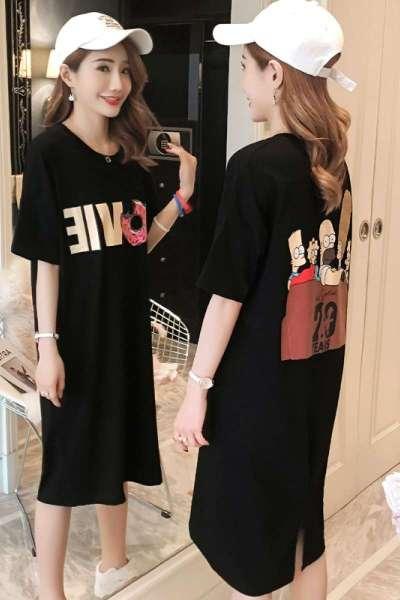 有怡2019夏季新款韩版卡通图案黑色连衣裙女装宽松中长款短袖T恤裙夏