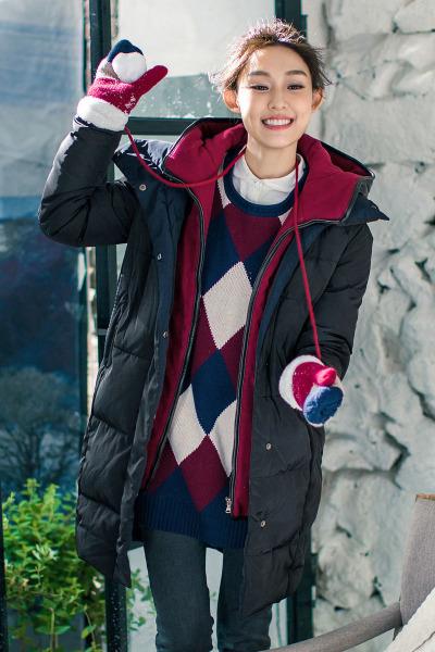 茵曼女装文艺连帽加厚假两件女中长款及膝冬季羽绒服外套