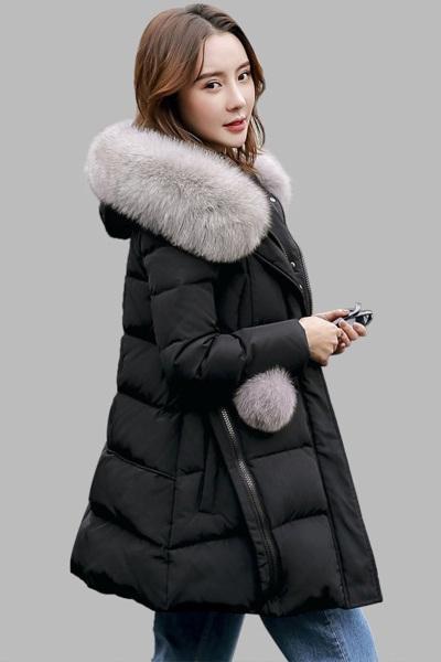 佐露絲RALOS 女装羽绒服女士新款韩国版狐狸大毛领修身显瘦中长款黑色加厚A版外套
