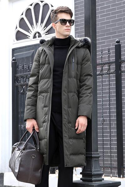 马尼亚袋鼠(MANIYADAISHU)男士冬季时尚时尚加厚白鸭绒羽绒大衣外套男