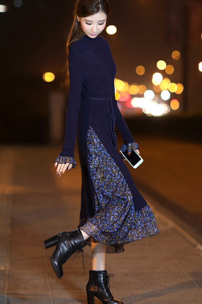 千仙仙2018新款女装秋冬季修身长款连衣裙女士显瘦针织长袖裙碎花喇叭袖长裙