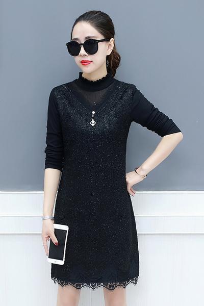千仙仙秋冬季连衣裙女长袖2018新款修身加绒加厚蕾丝中长款保暖打底裙子