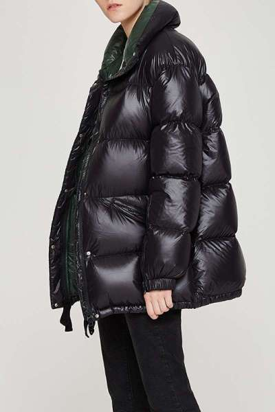 初语反季羽绒服女中长款2018新款亮面宽松白鸭绒冬装面包服外套