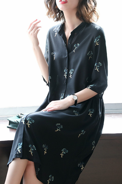 子沫雨JMOORY七分袖印花连衣裙女夏2019新款黑色裙子女衬衫裙