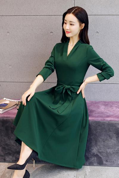小样传奇 2018秋装新款女装韩版修身显瘦气质淑女长袖遮肚子春秋打底连衣裙