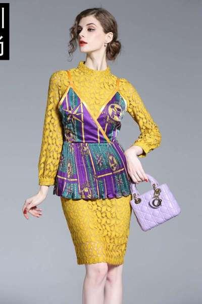 2018春秋新款女套装欧美女装蕾丝性感印花带连衣裙两件套黄色