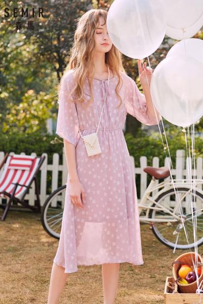 Semir森马连衣裙2019夏季新款女流行中长款很仙的法国小众复古甜美裙