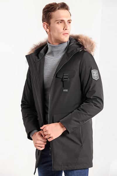 蒙蒂埃莫(monteamor)时尚个性白鸭绒拉链连帽常规版男士中长羽绒大衣