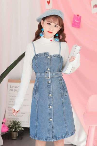 mgfs新款牛仔吊带裙春季韩版新款chic修身短裙一排扣吊带牛仔裙连衣裙