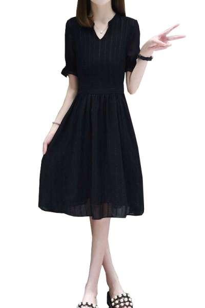 有怡女装2019欧洲站夏季韩版修身显瘦雪纺小黑裙大码A字中长款连衣裙女裙子