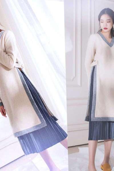 胖mm秋冬新款韩版大码女装两件套洋气套装藏肉显瘦打底连衣裙MAR PAIRS